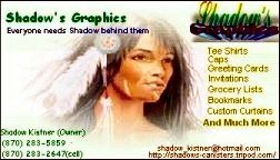 Native American Woman Shadow's Graphics Plus Logo